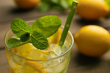 Lemonade with lemon and mint, closeup