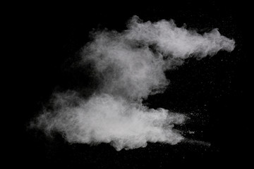 White powder on black background