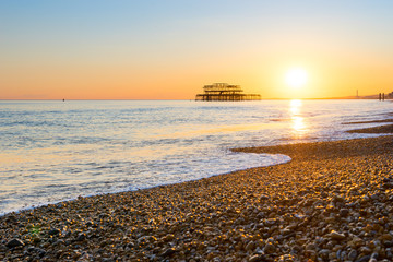 Brighton pier and beach, England