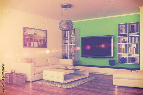 Moderne Luxuri Se Penthouse Wohnung Mit Einem Wohnzimmer Im Retro Style  Imagens E Fotos De