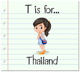 Flashcard letter T is for Thailand
