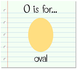 Flashcard letter O is for oval