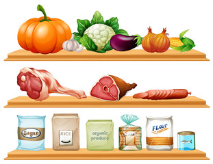 Food and ingredients on the shelf