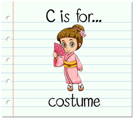 Flashcard letter c is for costume