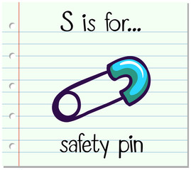 Flashcard letter S is for safety pin