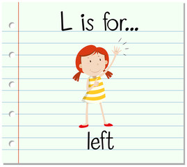 Flashcard letter L is for left