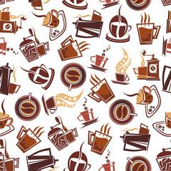 Brown coffee retro seamless pattern