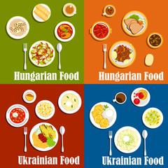 Hungarian and ukrainian national cuisine