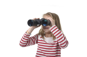 blond hair young little girl looking holding binoculars looking through observing and watching curious