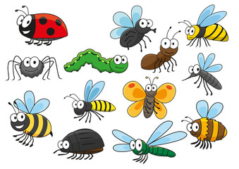 Colorful cartoon smiling insects characters
