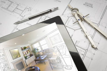 Computer Tablet Showing Room Illustration On House Plans, Pencil and Compass