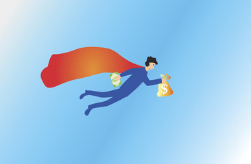 businessman flying away with money bag.