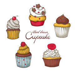 set of hand drawn cupcake