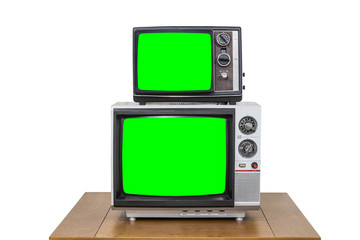Vintage Television Stack Isolated on White with Chroma Key Green Screen