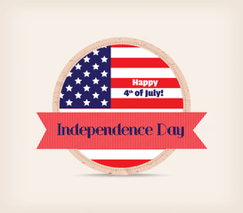 Happy 4th of July. Independence Day. Button Badge