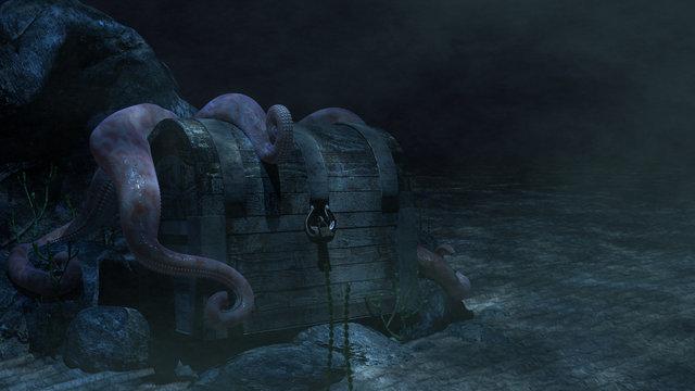 Sunken Treasure Chest & Octopus An underwater treasure chest with an octopus draping its tentacles over it.