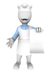 3d cook with blank menu.