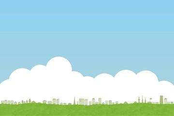 街並みと入道雲
