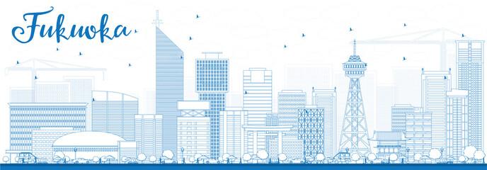 Outline Fukuoka Skyline with Blue Landmarks.