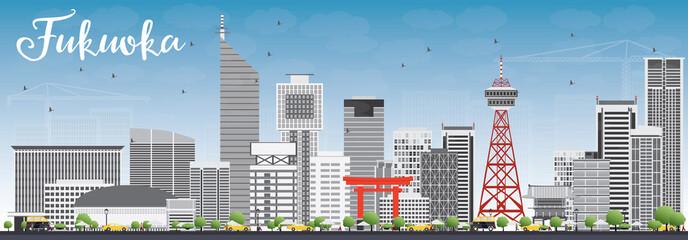 Fukuoka Skyline with Gray Landmarks and Blue Sky. Wall mural