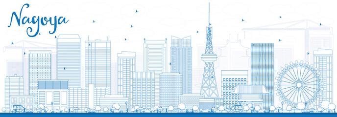 Outline Nagoya Skyline with Blue Buildings.