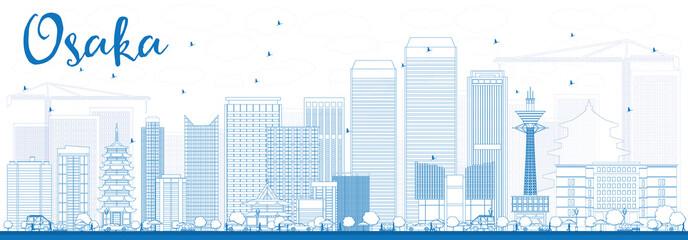 Outline Osaka Skyline with Blue Buildings.