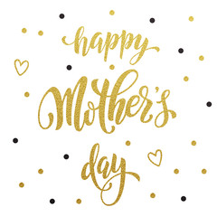 Mothers Day greeting card with gold glitter heart and title.