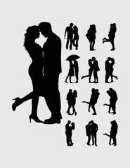 Romantic couples silhouettes, art vector design