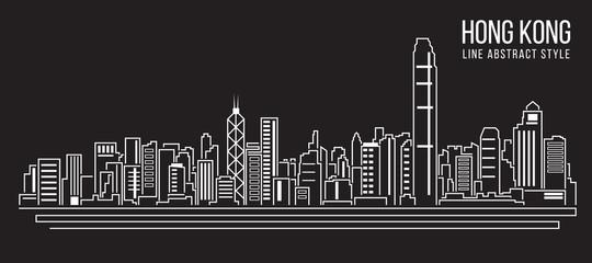 Cityscape Building Line art Vector Illustration design Hong kong city Fotomurales