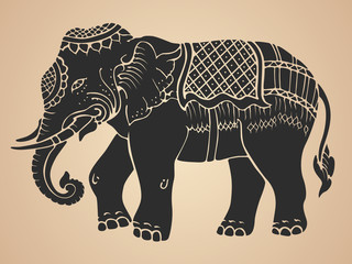 Black war elephant - Thai traditional art Design Vector