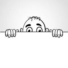 Line art illustration of a man peep