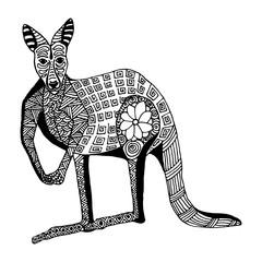 Kangaroo hand draw doodle style and zentangl