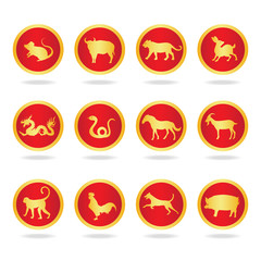 Red and gold twenty seven constellations  in circle  - vector design