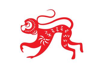 Red paper cut a monkey zodiac symbols