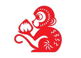 Red paper cut a monkey zodiac symbols monkey holding peach