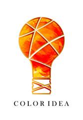 Color idea. Creative idea. Bright orange bulb. Watercolor light.