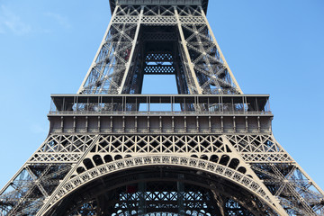 Eiffel tower middle section first floor closeup