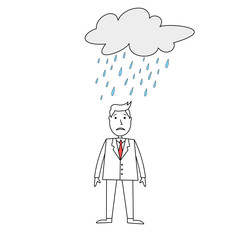 Sad businessman standing under a rainy cloud.