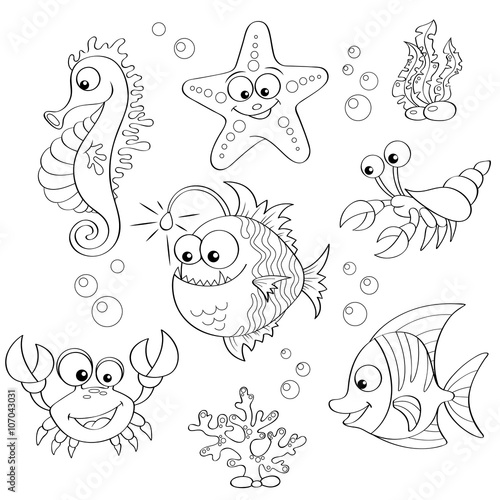 """Set of cute cartoon sea animals. Black and white vector ..."