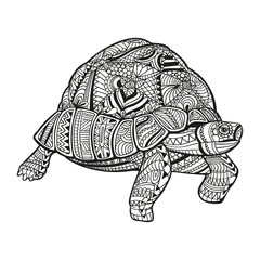 Vector Illustration of an Abstract Ornamental Turtle