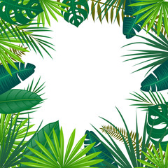Vector Illustration of an Abstract Background with Tropical Leaves