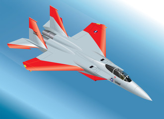 Detailed Isometric Vector Illustration of the Prototype F-15 Eagle FighterJet Airborne