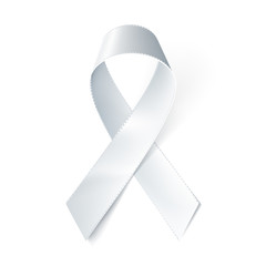 Realistic white ribbon isolated on white. Vector illustration, eps10.