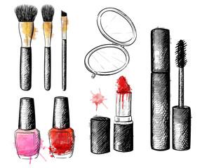 Cosmetics collection. Vector fashion set. Hand drawn graphic lips, eye, heels, mascara, lipstick, nail polish. Sketch vector illustration.