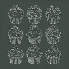 カップケーキ・黒板