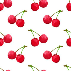 Seamless pattern with watercolor berry cherry