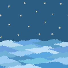 seamless pattern made from night sky with stars and clouds