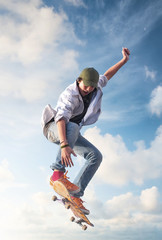 Skater on the sky background. Sport and active life concept