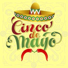 Cinco de Mayo Vector Illustration. Hand Lettered text with Chili