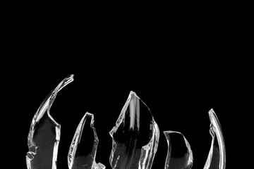 broken glass on black background